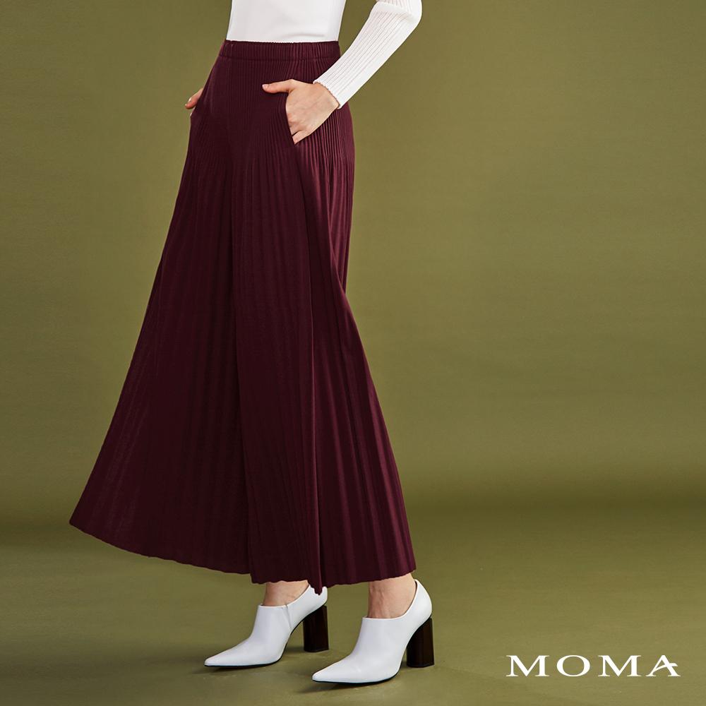 MOMA(02P053)壓褶側開衩寬褲