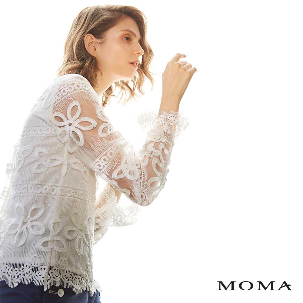 MOMA(02G009)網紗立體蕾絲上衣