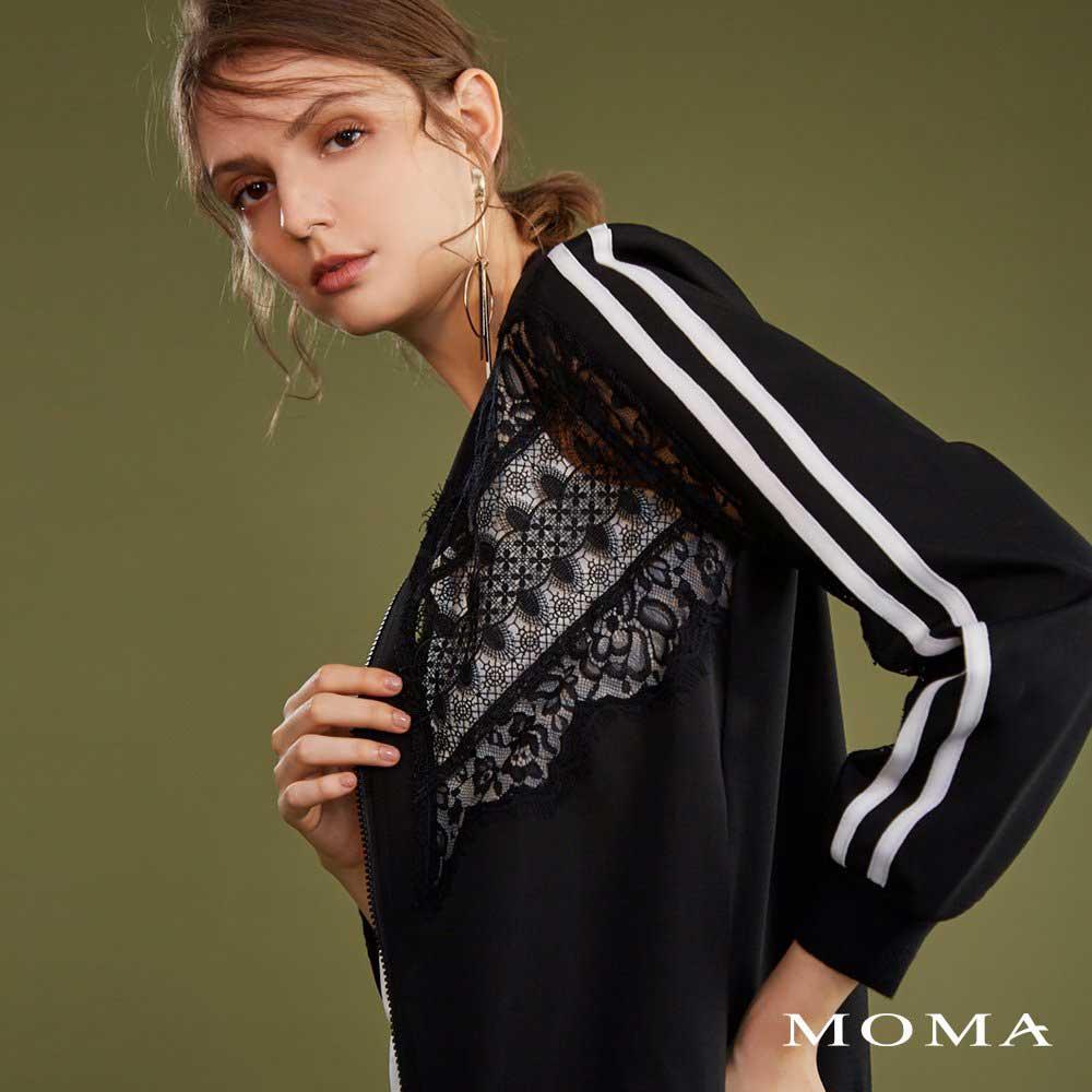 MOMA(02J011)蕾絲休閒飾邊外套