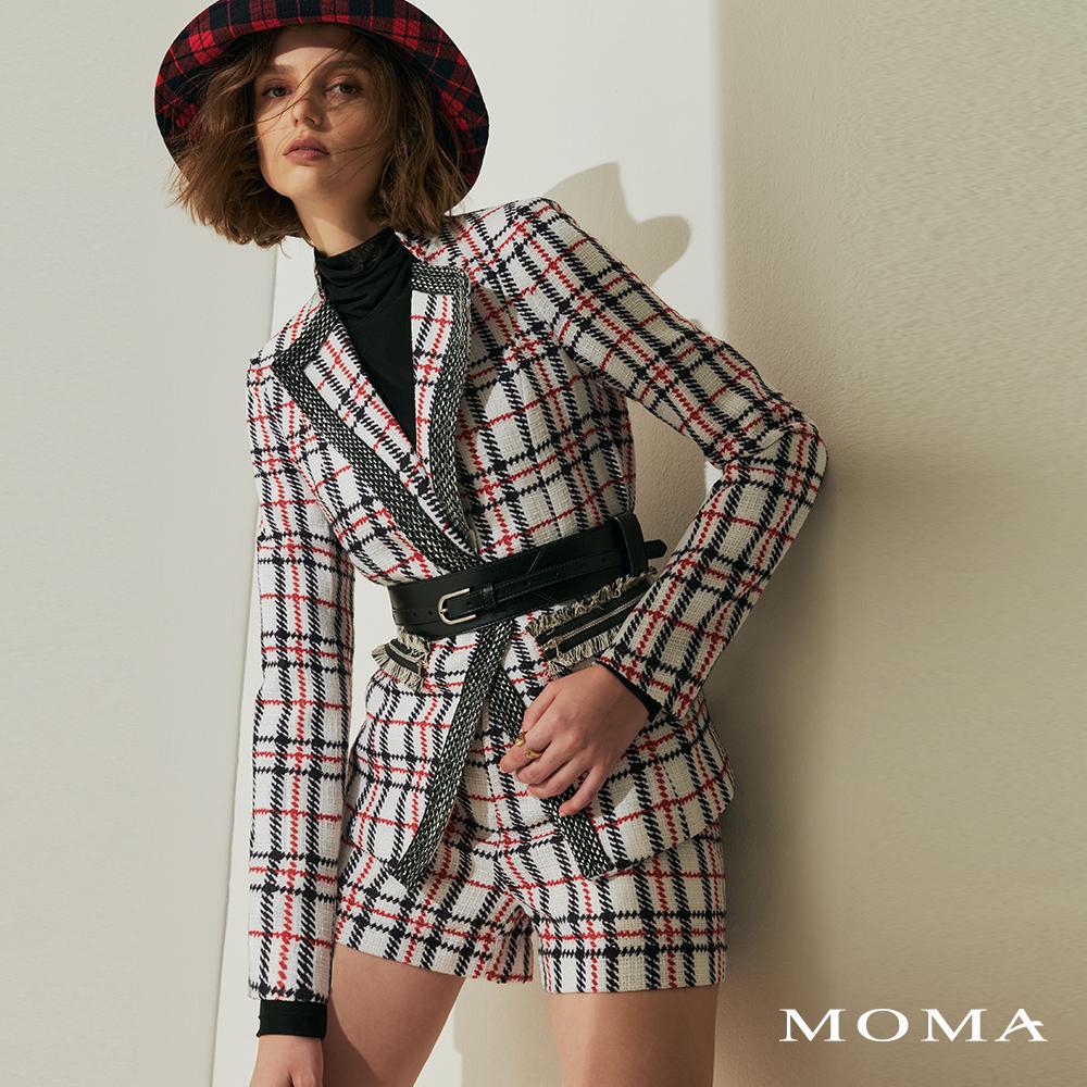 MOMA(02P026)毛呢格紋印花短褲