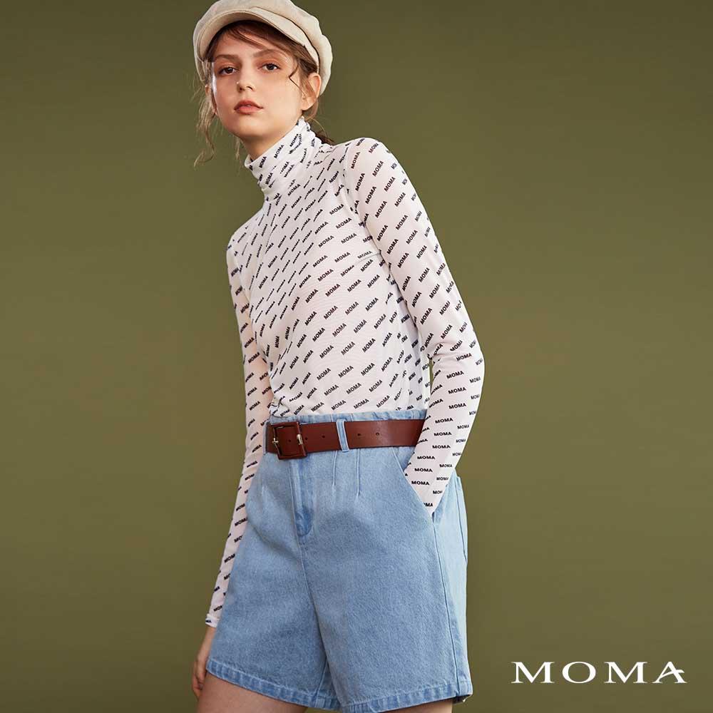 MOMA(02P067)打褶中腰牛仔短褲
