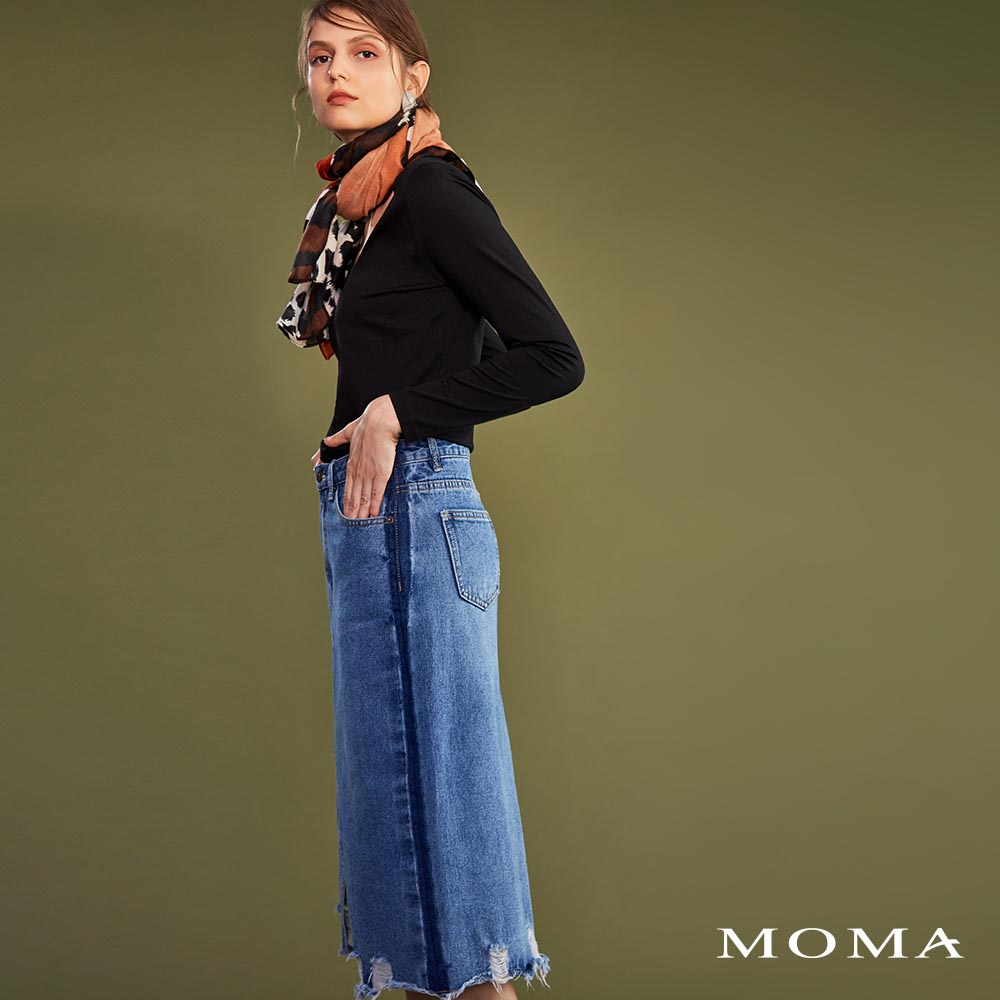 MOMA(02S036)刷破牛仔中長裙-剩餘40號