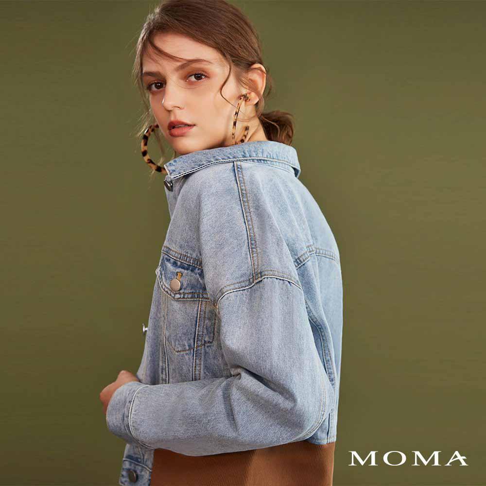 MOMA(02J003)丹寧羅紋下擺外套
