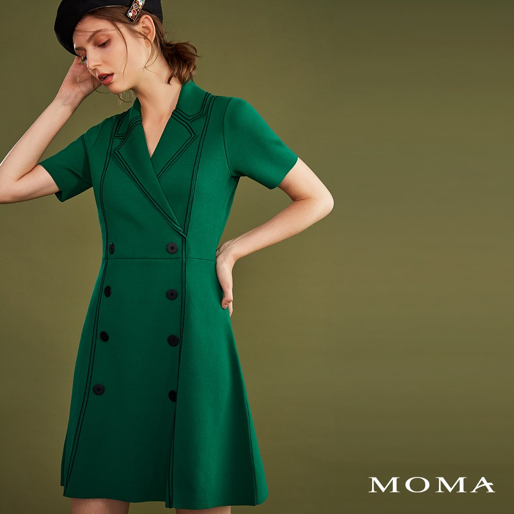 MOMA(02KD02)法式西裝領針織洋裝