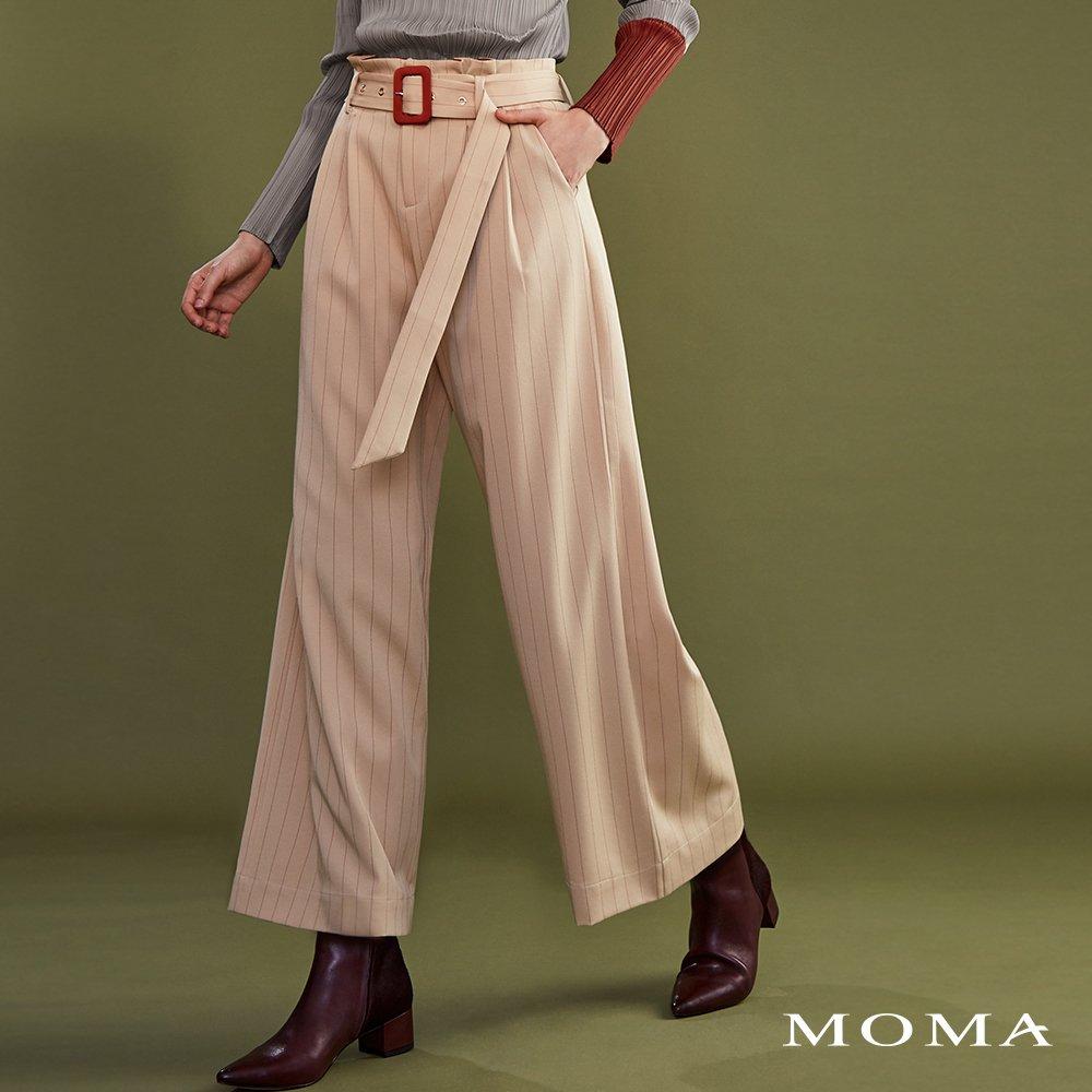 MOMA(02P060)細條紋落地寬褲