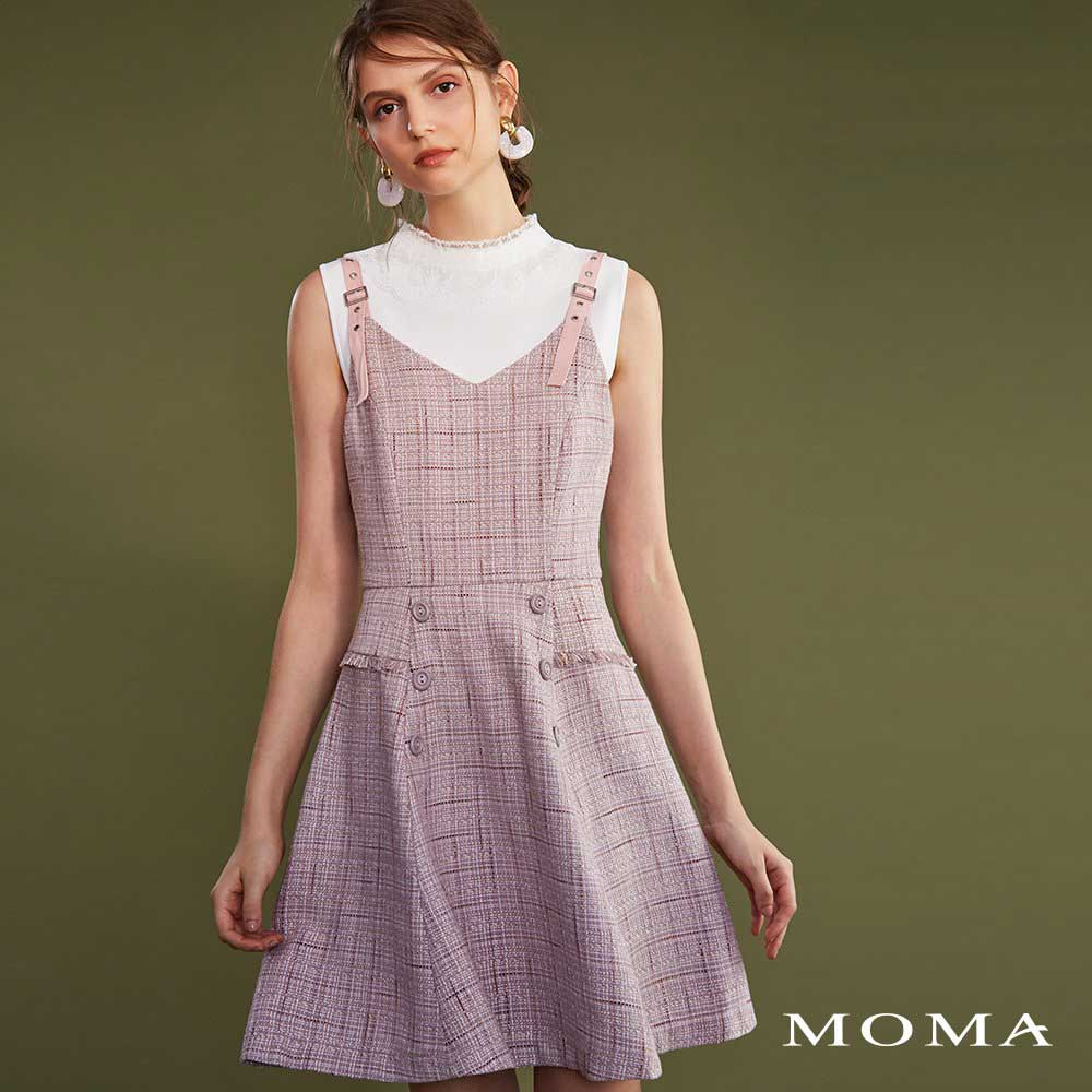 MOMA(02D009)花呢細肩帶洋裝