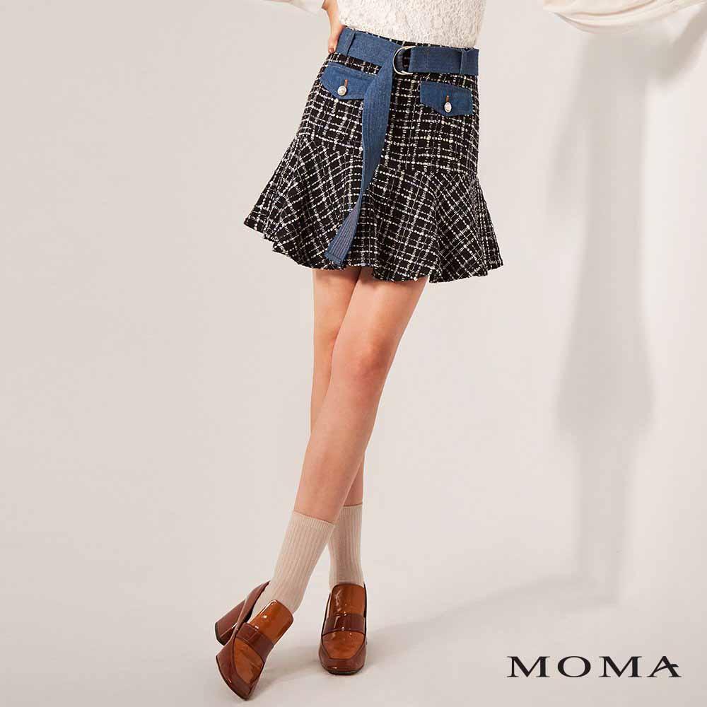 MOMA(02S051)毛呢牛仔蓋袋短裙