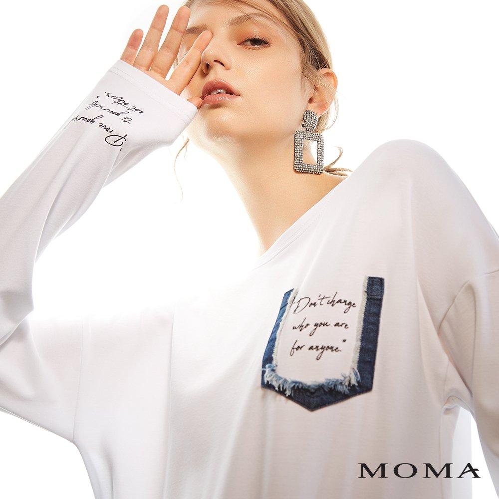 MOMA(02M035)丹寧口袋長袖上衣
