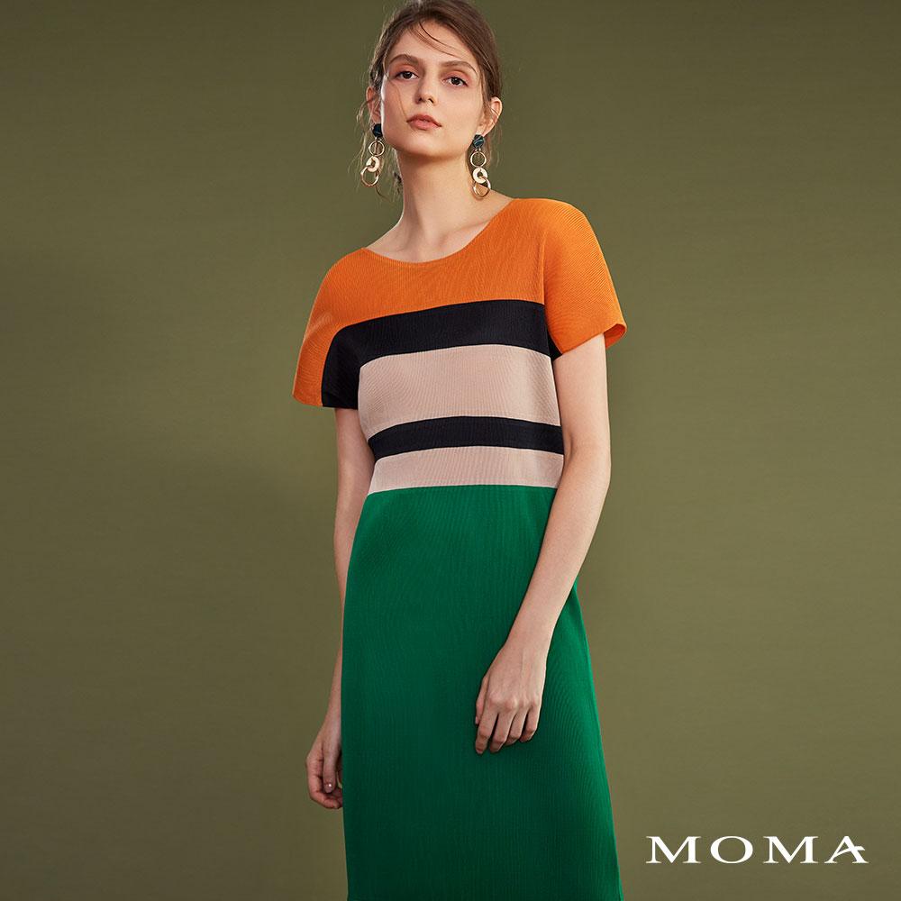 MOMA(02D030)壓褶色塊洋裝-剩餘38號