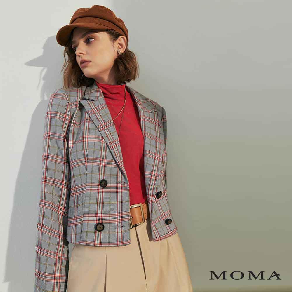 MOMA(02J062)格紋雙排扣西裝外套