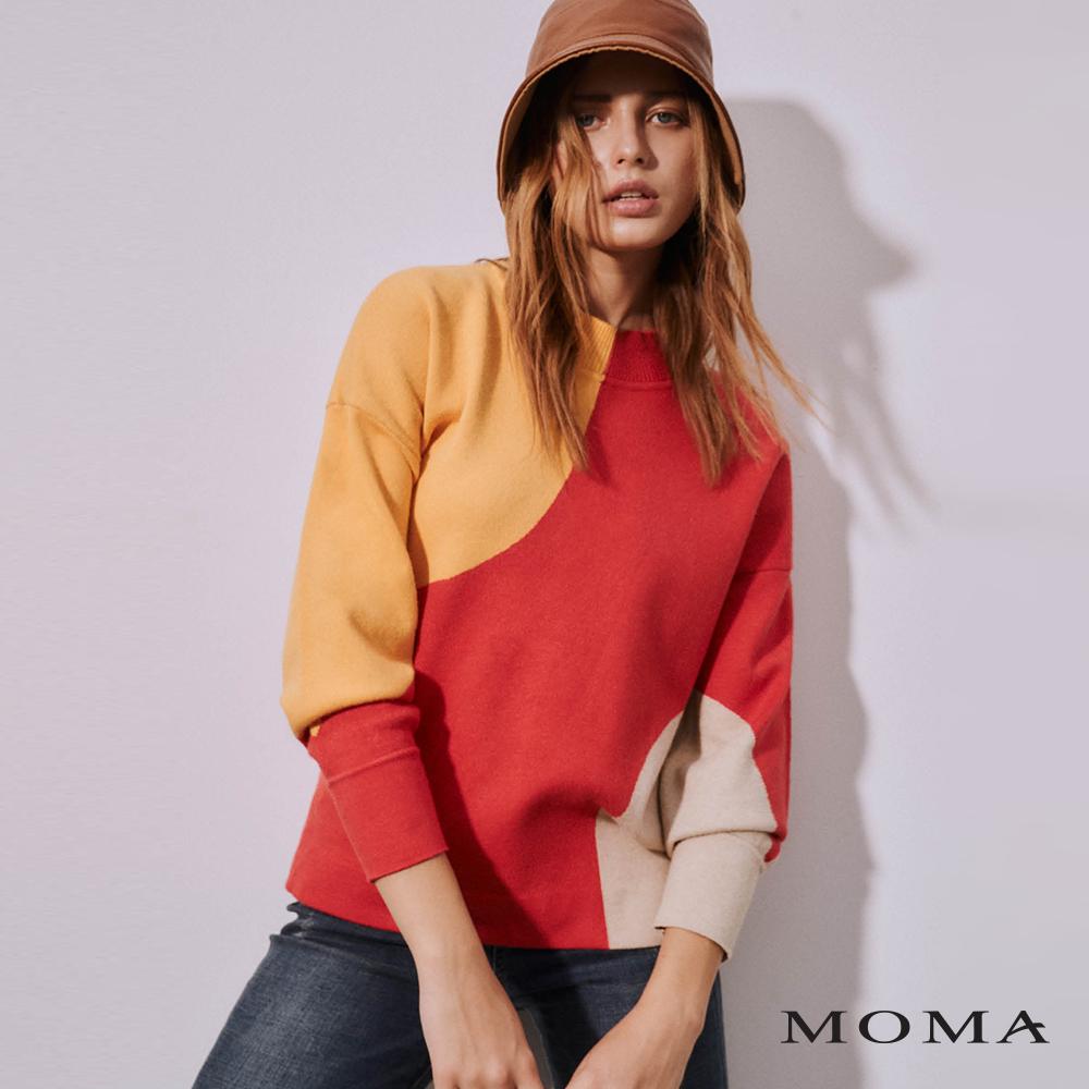 MOMA(02KM21)撞色落肩長版毛織上衣