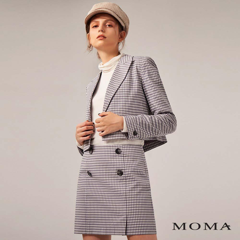 MOMA(02S057)鈕扣格紋A字裙