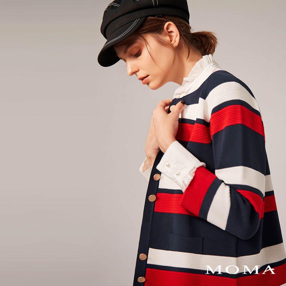MOMA(02KJ15)條紋毛織外套