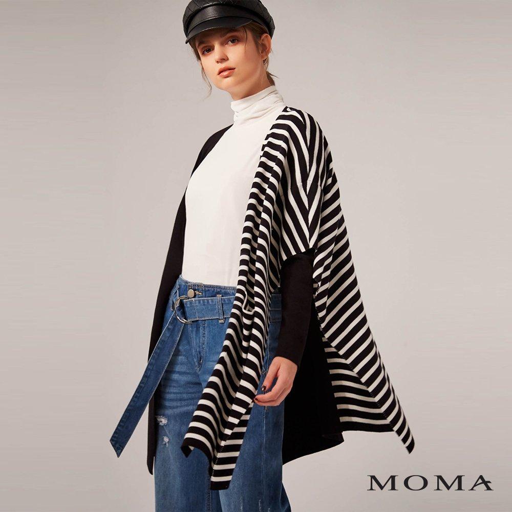 MOMA(02KJ03)條紋披巾式外套