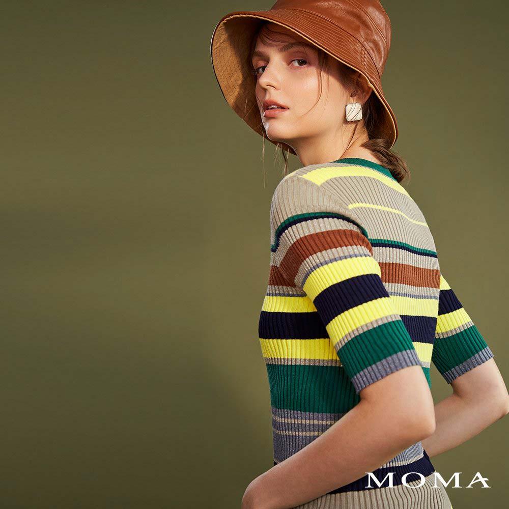 MOMA(02KM31)配條五分袖針織上衣