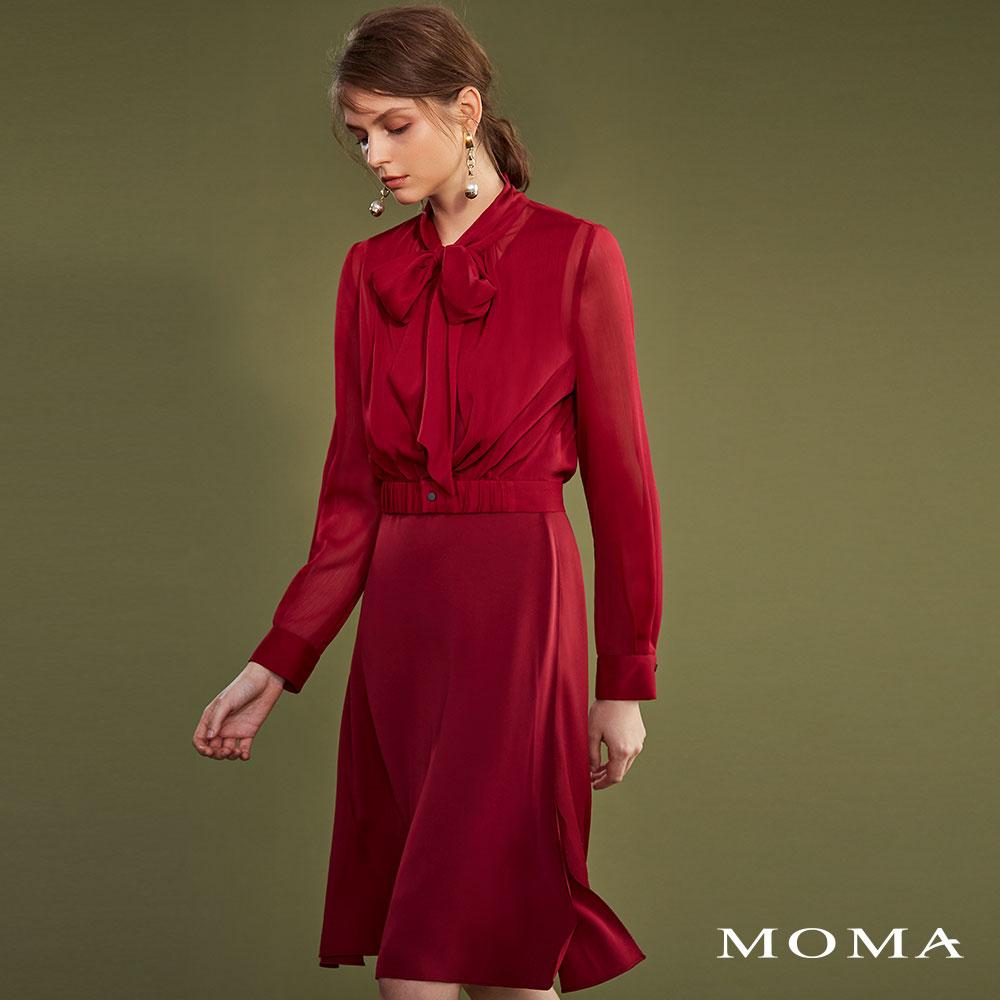 MOMA(02D012)領結透視雙層洋裝