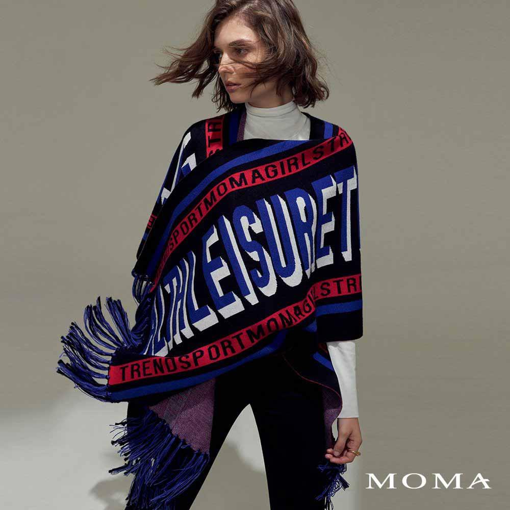 MOMA(02KJ04)文字標語披毯式斗篷外套-F碼