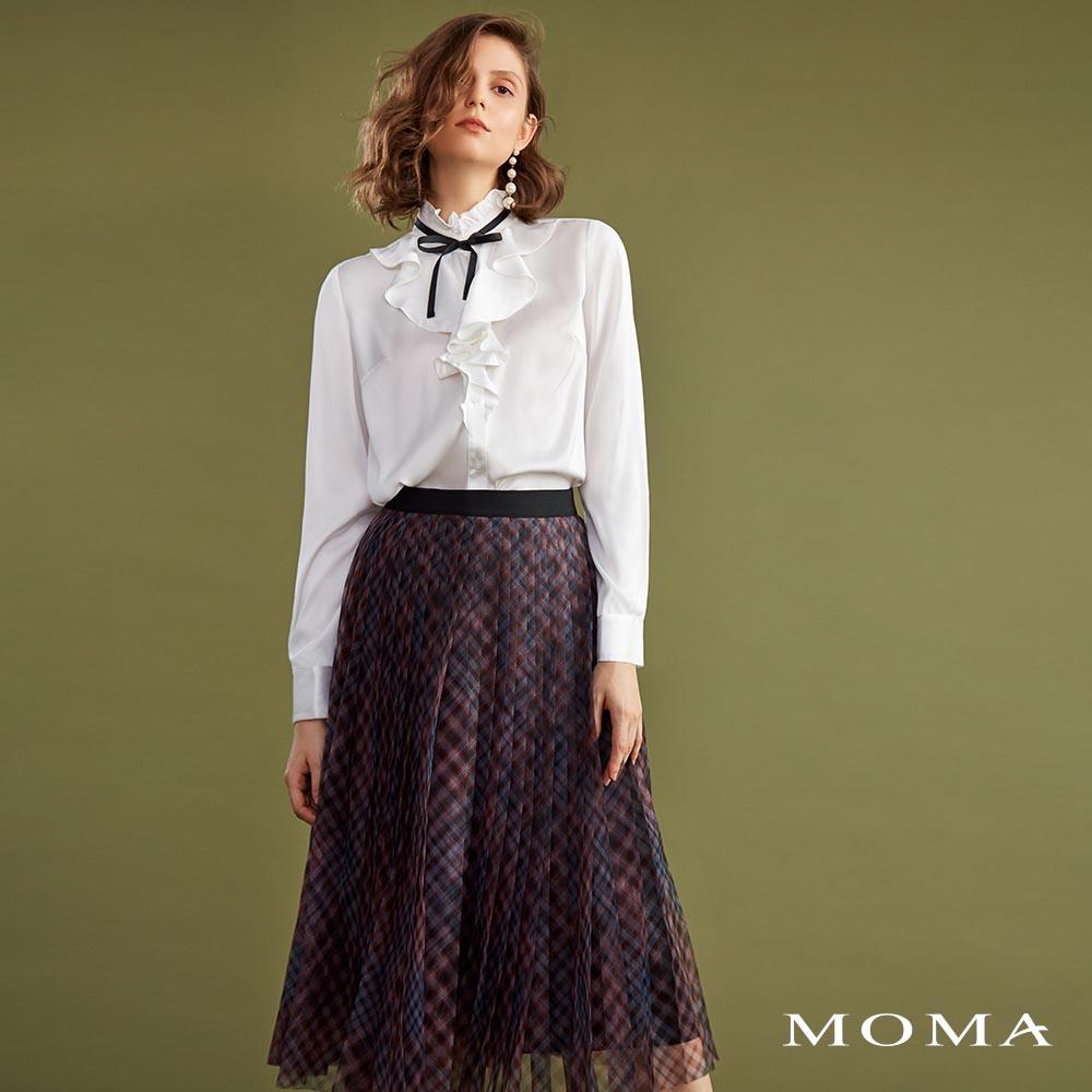 MOMA(02S017)格紋壓褶網紗裙