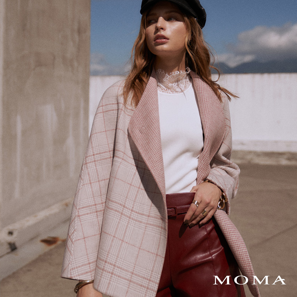 MOMA(02J050)格紋雙面毛料大衣