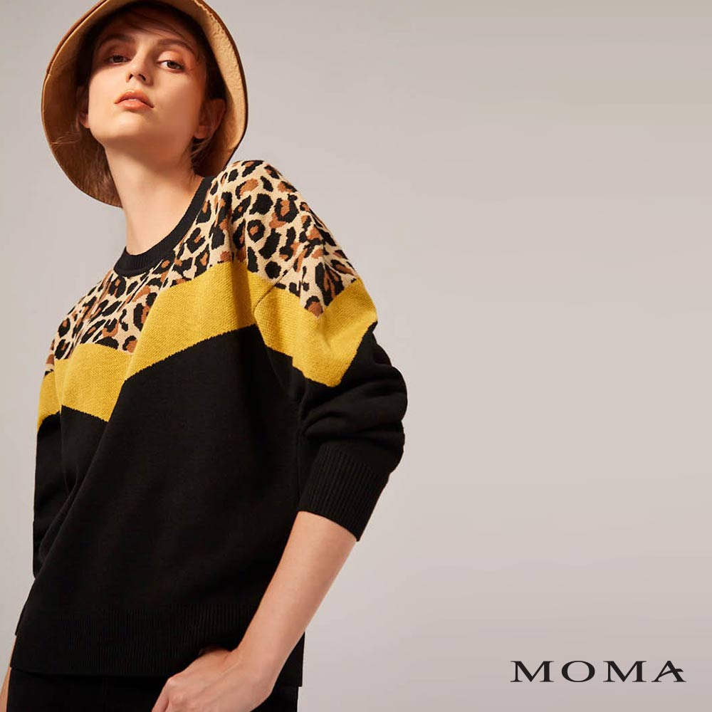 MOMA(02KM06)豹紋色塊毛織上衣