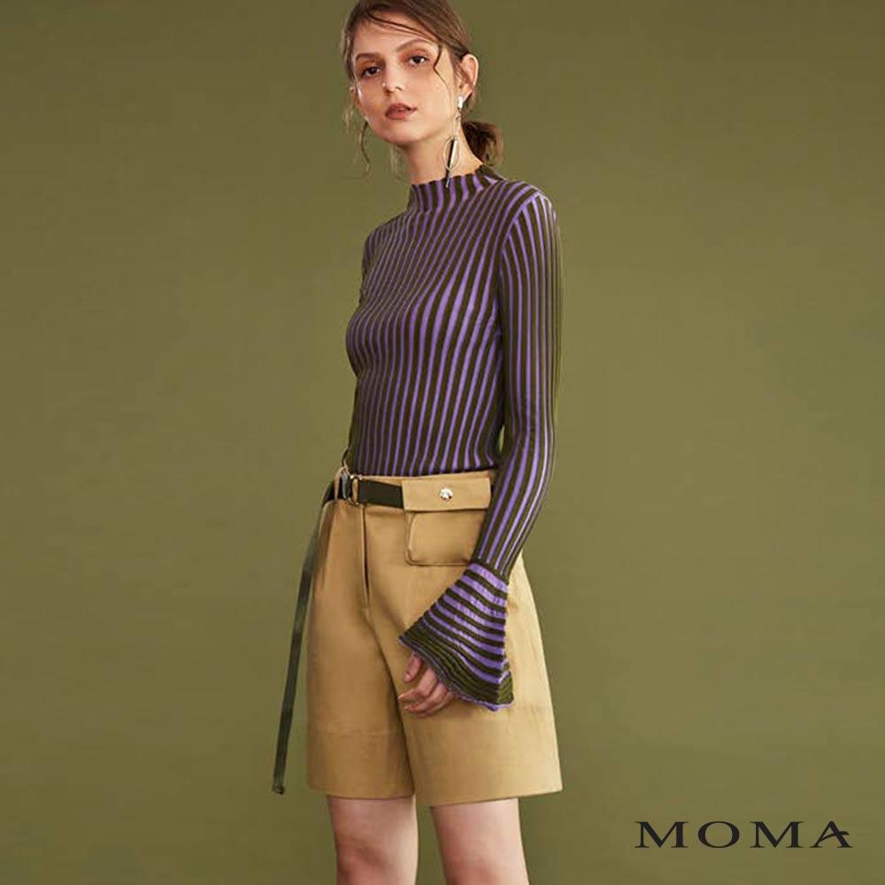 MOMA(02P047)腰包裝飾打褶五分褲