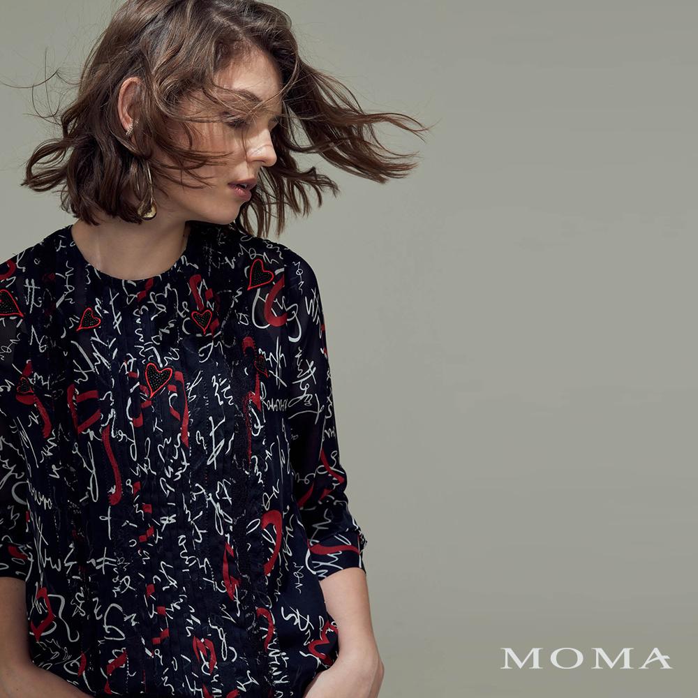 MOMA(02G067)愛心圖文雪紡上衣