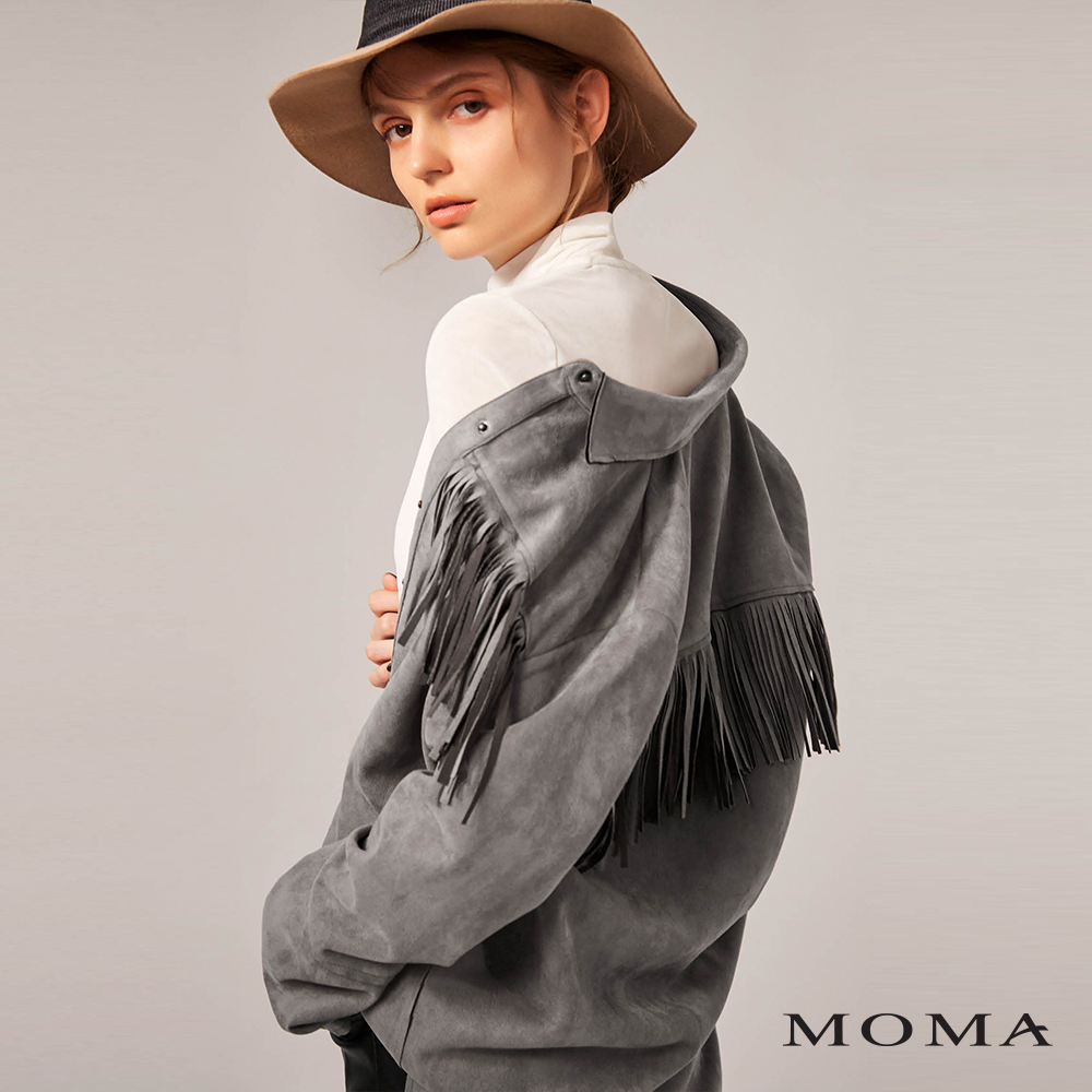 MOMA(02B018)流蘇麂皮長版襯衫