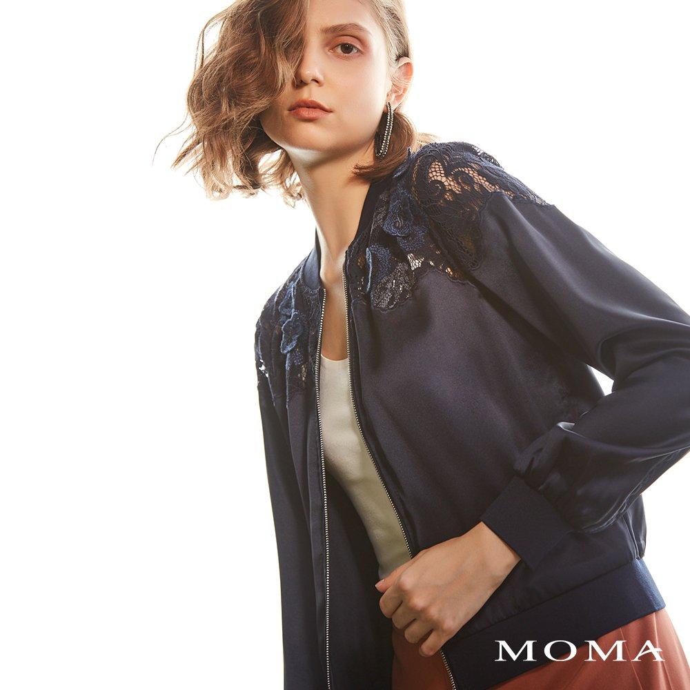MOMA(02J015)蕾絲緞面拉鍊外套-剩餘34號
