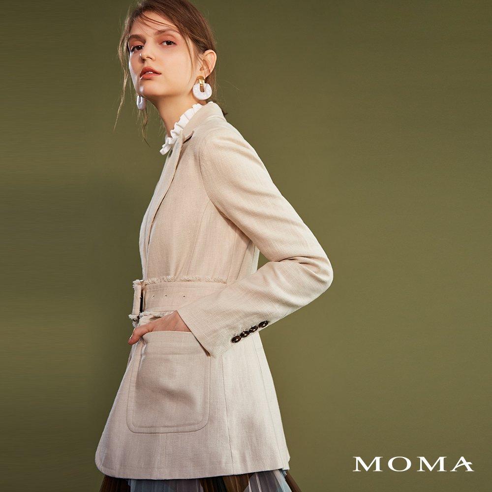 MOMA(02J033)麻料鬚邊西裝外套