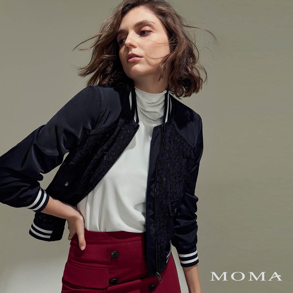 MOMA(02J013)拼接蕾絲休閒外套