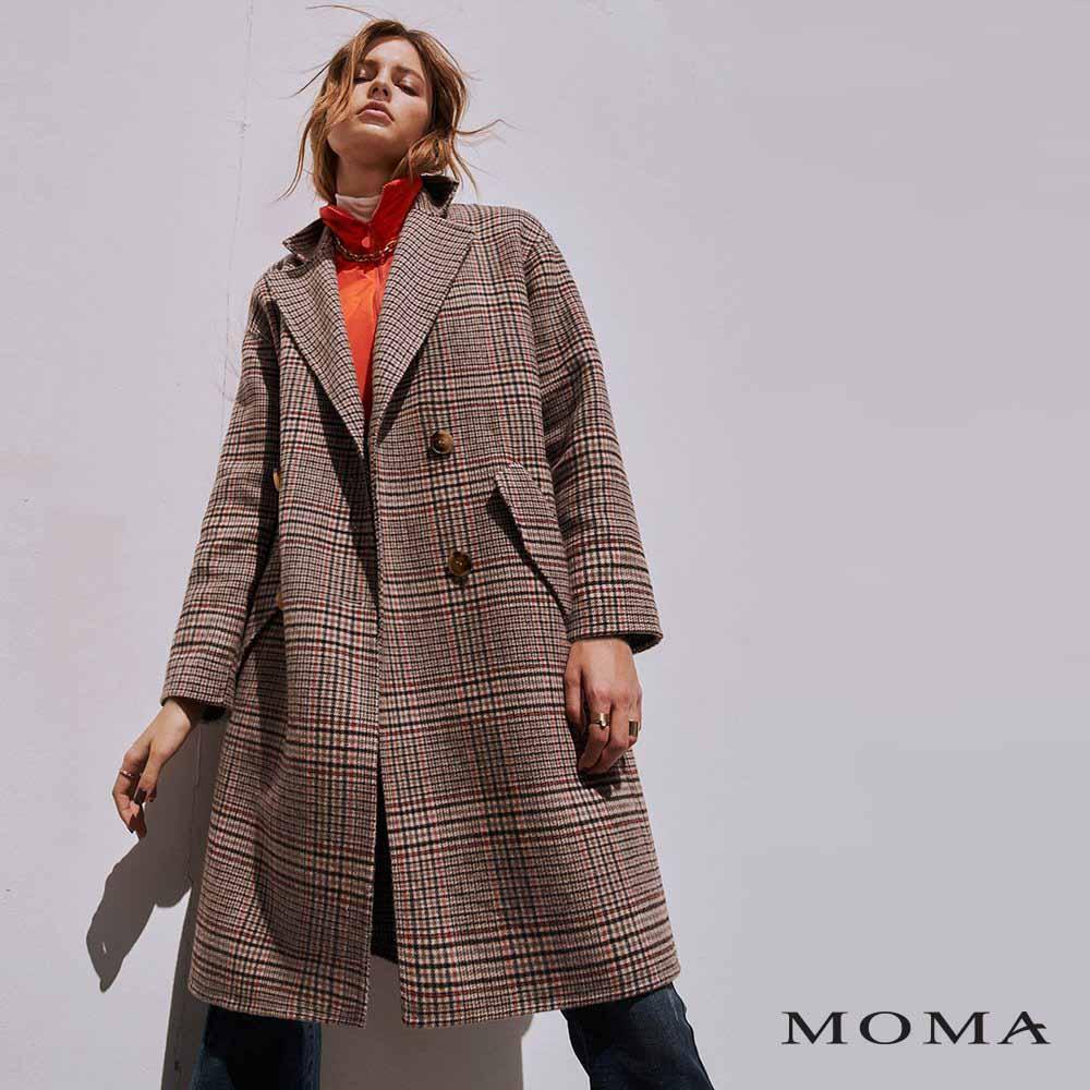 MOMA(02J028)可拆式羽絨領雙面毛呢外套