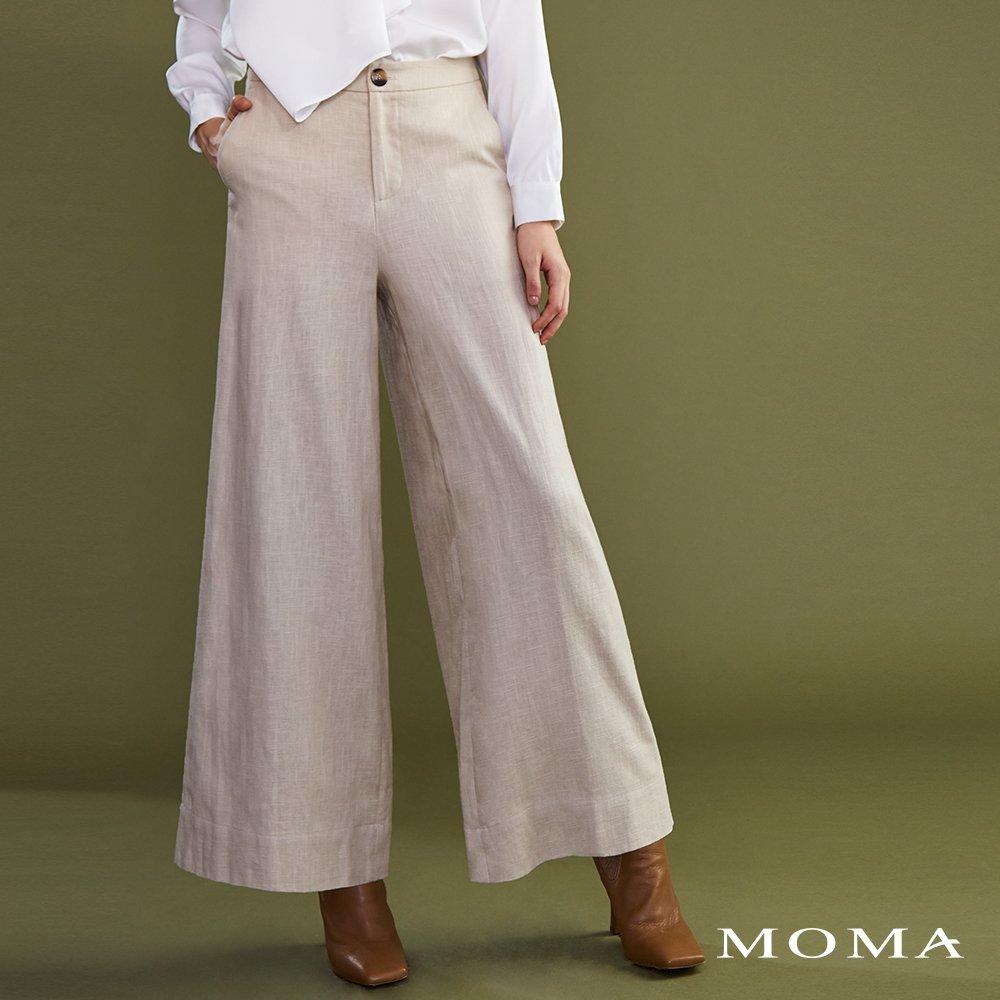 MOMA(02P062)麻料質感寬褲