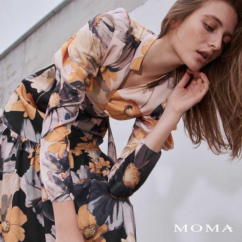 MOMA(02D072)浪漫花彩拼色洋裝