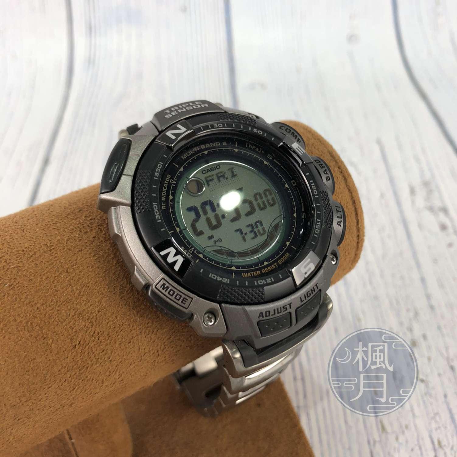 BRAND楓月 CASIO 卡西歐 PAW-1500T 金屬面數字錶大圓鈕 電子錶 手錶 腕錶 時計 大錶徑