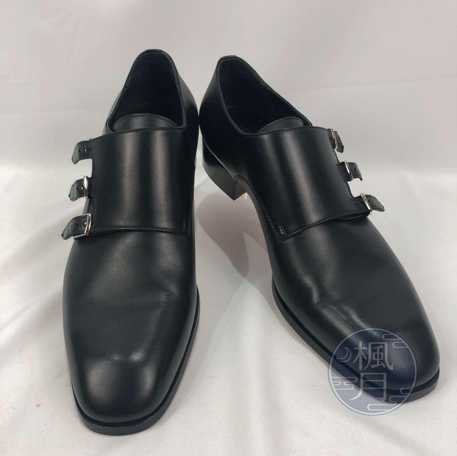 BRAND楓月 HERMES 愛馬仕 高氣質 黑皮鞋 橘底 尖頭 紳士鞋 牛津鞋 鞋子 #44.5