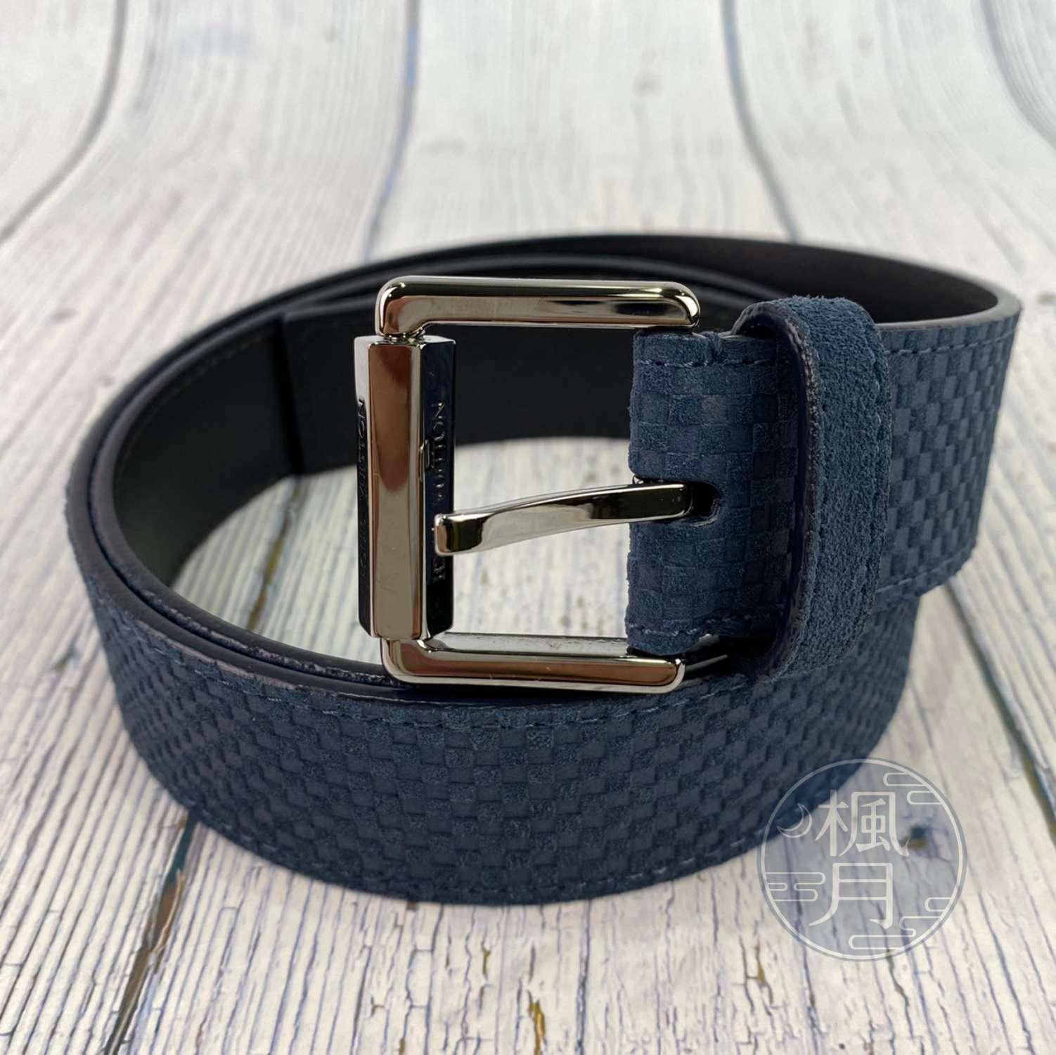 BRAND楓月 LOUIS VUITTON LV 路易威登 M9539 深藍色 小格紋 銀釦 皮帶 #90 腰帶 配件