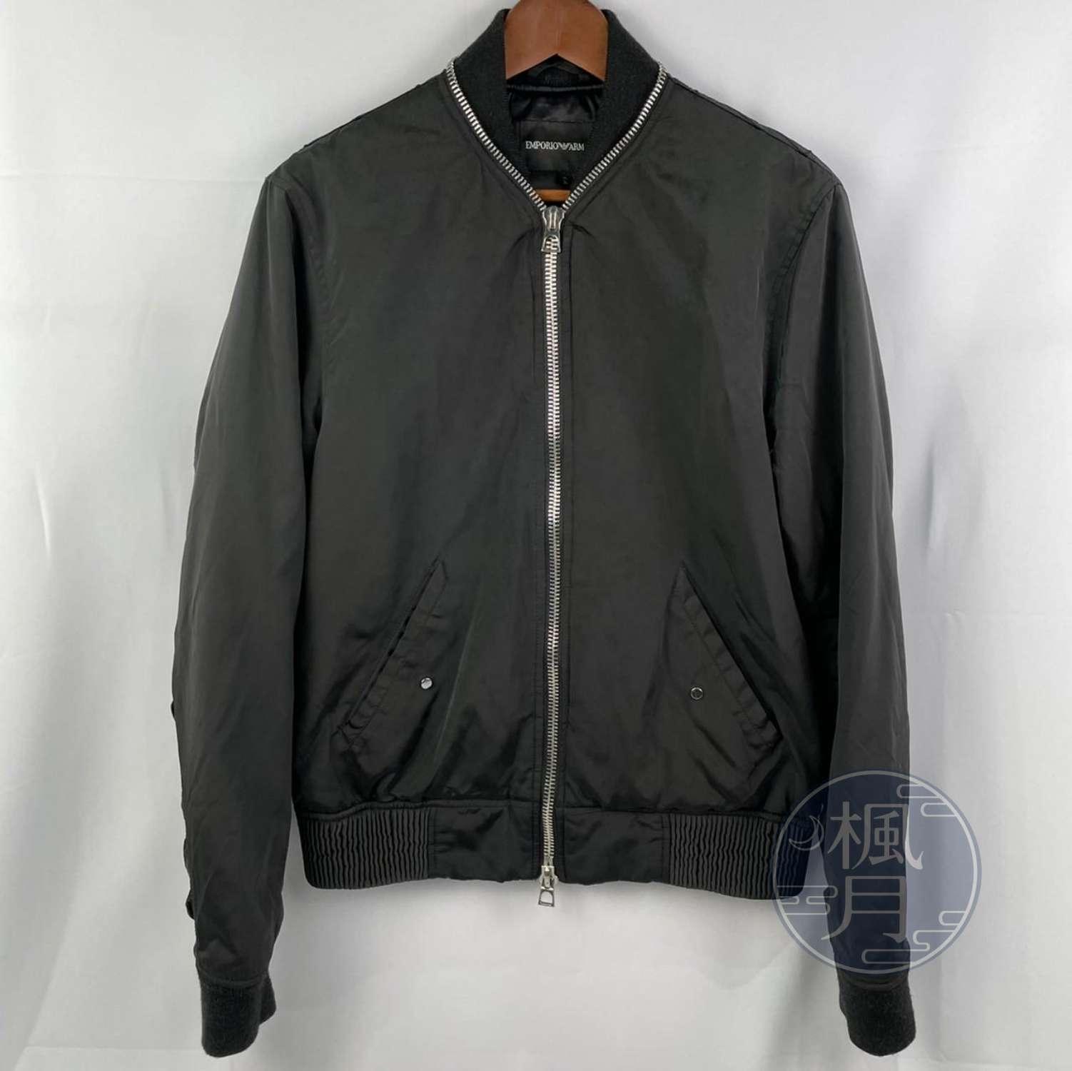 BRAND楓月 GIORGIO ARMANI 亞曼尼 黑色 尼龍 飛行外套 夾克 軍外套 拉鍊 中性 #XL