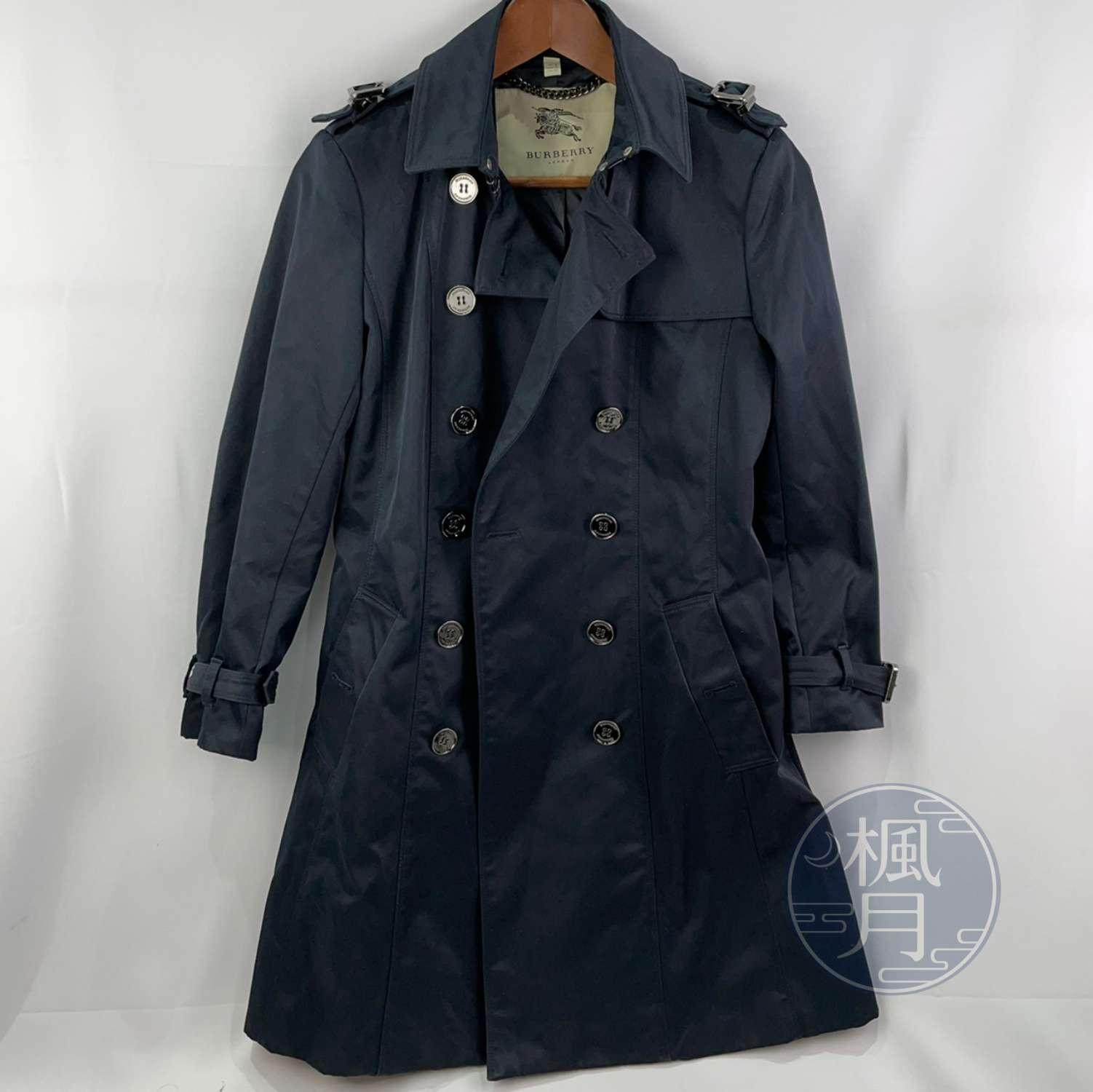 BRAND楓月 BURBERRY 博柏利 深藍風衣 雙排釦 經典 格紋內裡 長版風衣 保暖 防風 #UK10