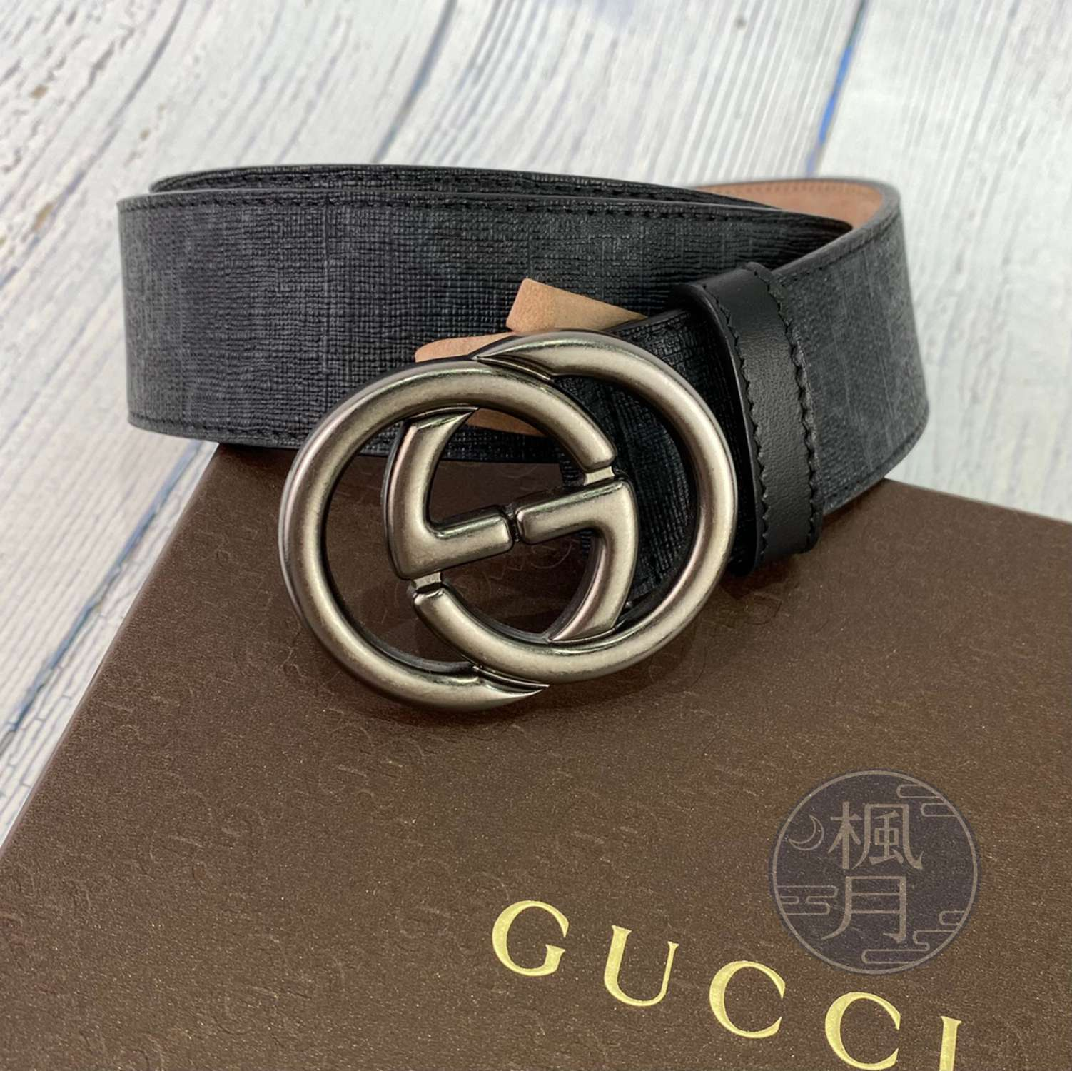 BRAND楓月 GUCCI 古馳 295777 經典 黑色 GG紋 PVC 皮帶 金屬 男用 腰帶 #90CM
