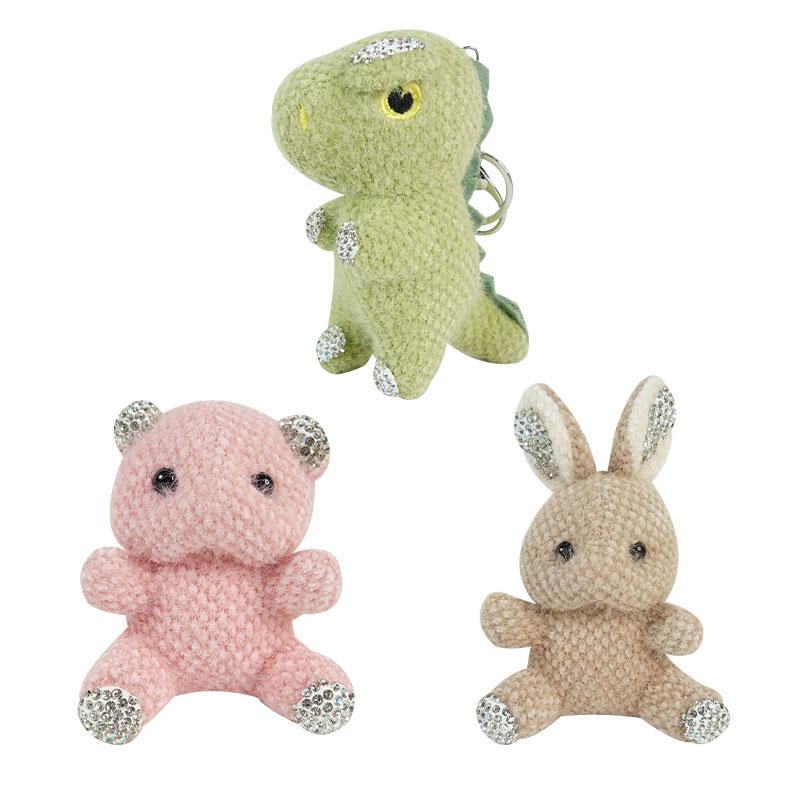 【貝麗瑪丹】水鑽造型鎖圈 兔子/恐龍/小熊 3種顏色 娃娃 鑰匙圈 吊飾 書包掛件 飾品 生日禮物