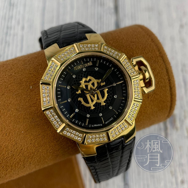 BRAND楓月 ROBERTO CAVALLI  蜘蛛網造型黑盤皮錶 QZ 經典黑金 水鑽邊飾 手錶 腕錶