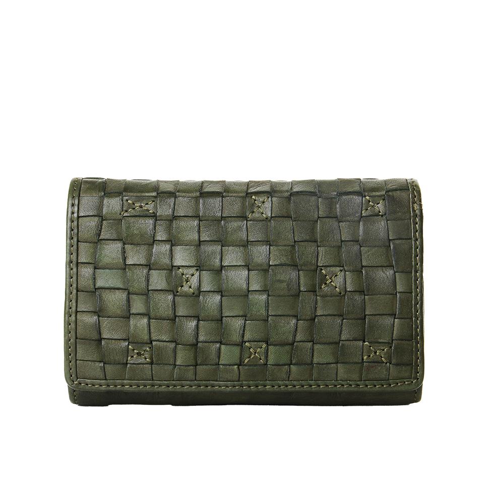 【BIBA】Kansas 編織三層中型皮夾 綠色