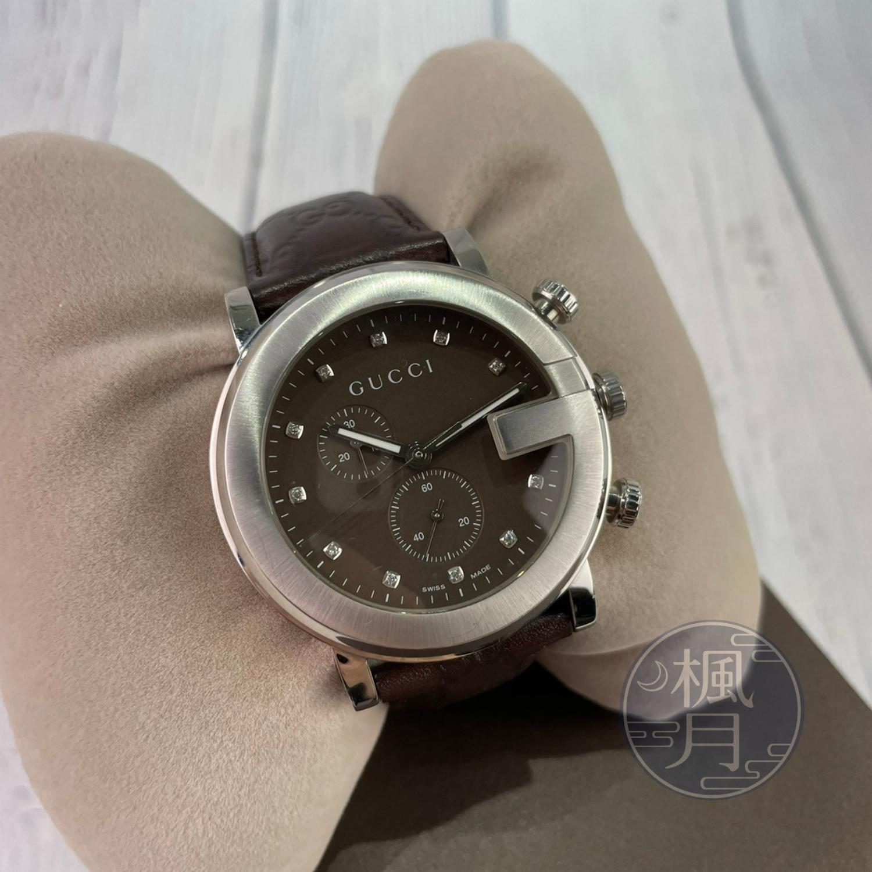 BRAND楓月 GUCCI 古馳 101M G-CHRONO 棕面 二眼 小鑽 GG紋錶帶 手錶 腕錶 QZ