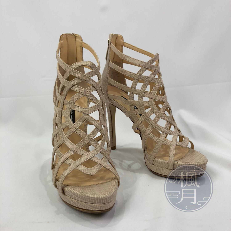 BRAND楓月 STELLA LUNA 蜘蛛網造型 淺棕色 特殊皮 高跟鞋 厚底鞋 羅馬鞋 #35 #22.5CM