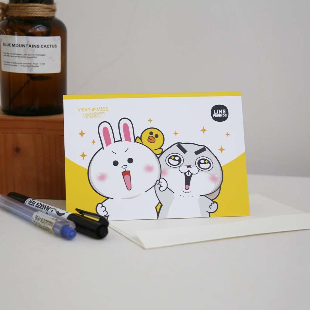 LINE十週年_好想兔 X BROWN&FRIENDS-立體卡片