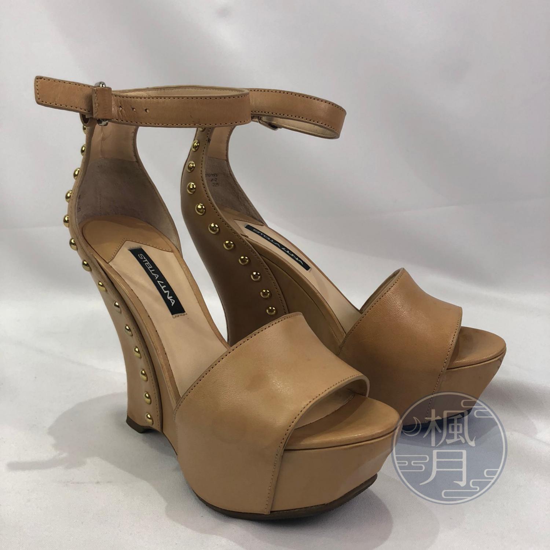 BRAND楓月 STELLA LUNA 奶茶色 淺棕色 金色鉚釘 楔型鞋 高跟鞋 厚底鞋 #35 #22.5