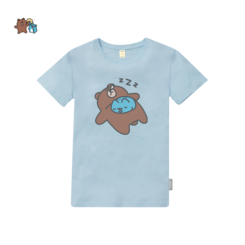 LINE十週年_貓貓蟲咖波 X BROWN&FRIENDS-好好睡 T恤-天藍