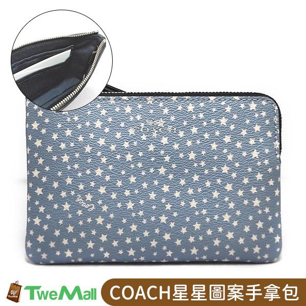 COACH星星圖案防刮皮革L型拉鍊手拿包(淺藍)