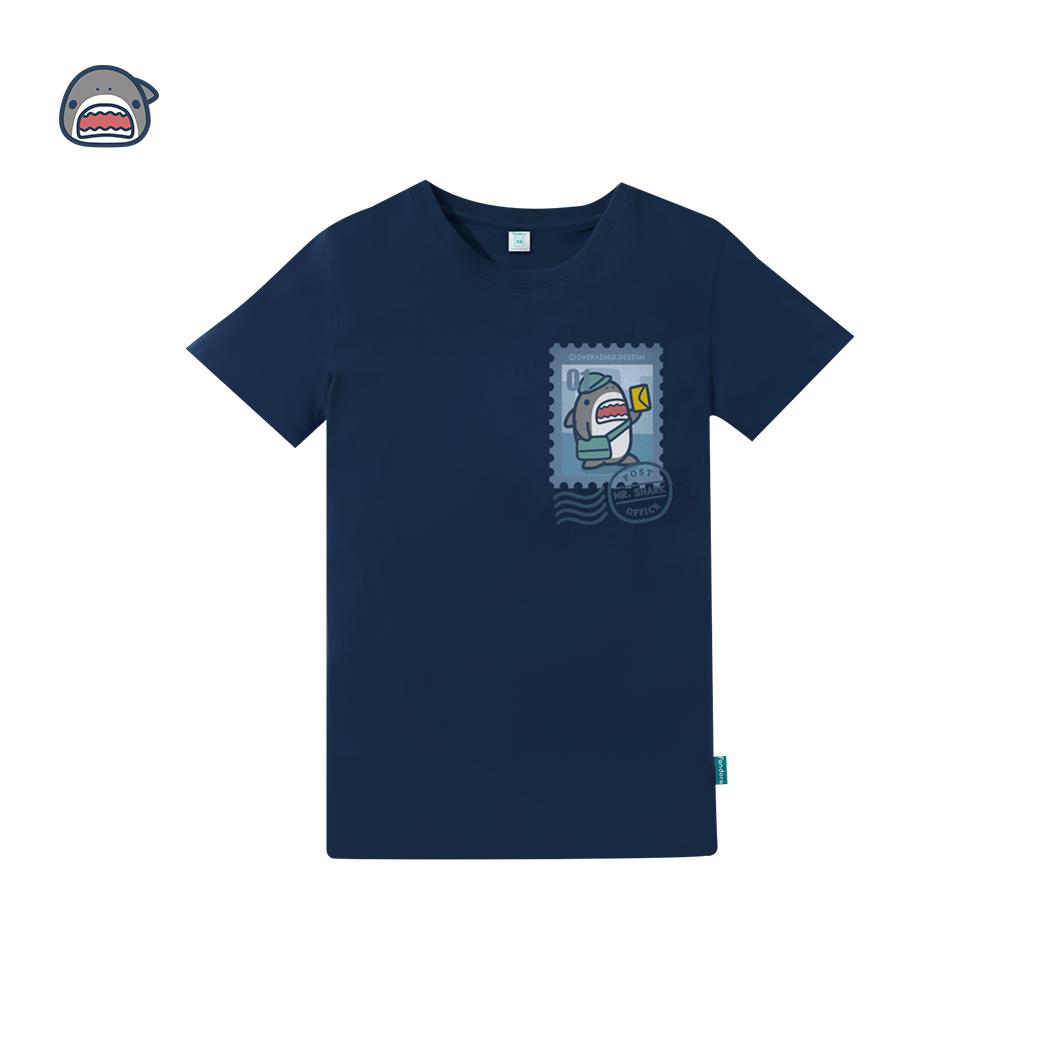 鯊魚先生_郵票款T恤-海軍藍
