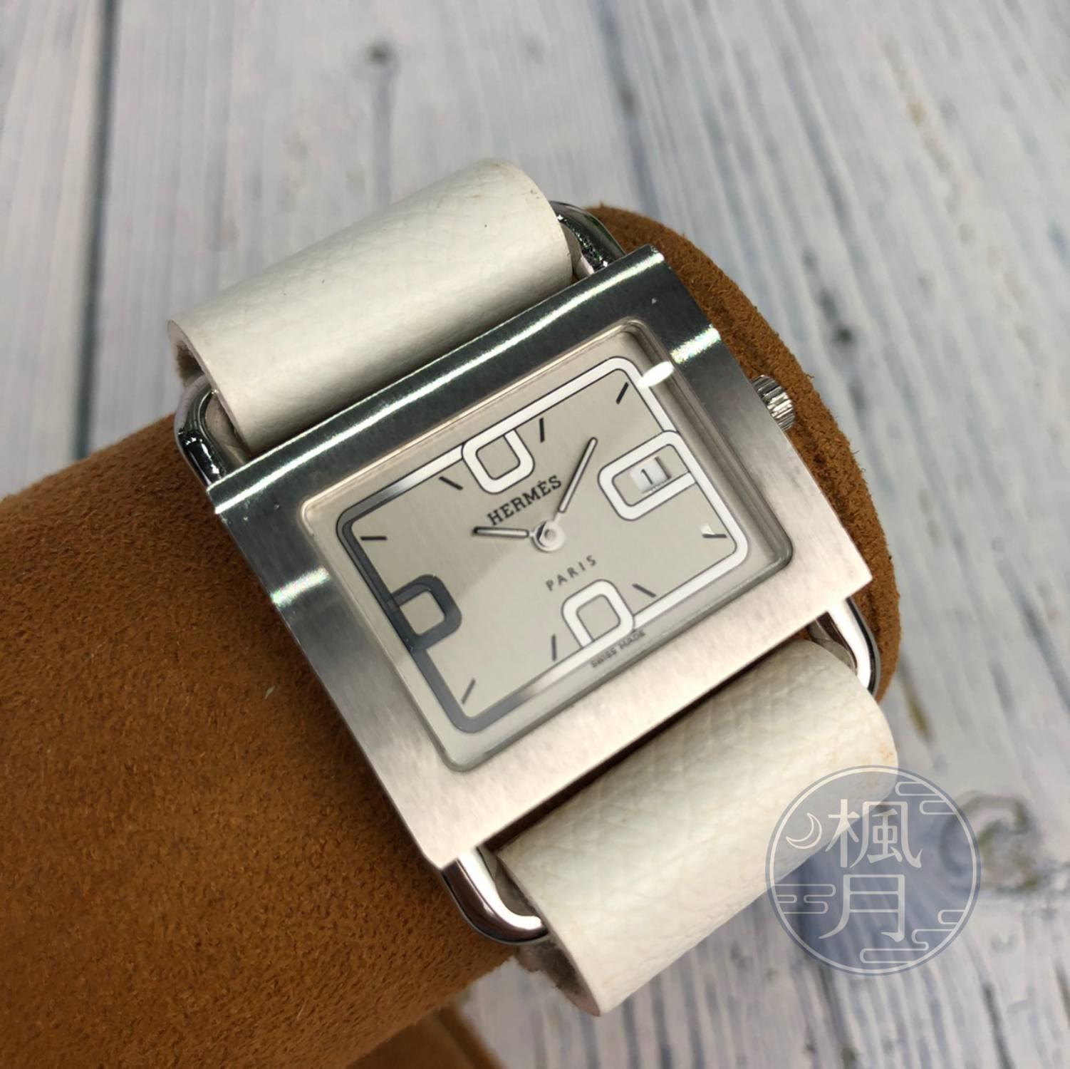 BRAND楓月 HERMES 愛馬仕 經典 BA1.510 白色 皮革 銀錶 BARENIA 手錶QZ#S 配件